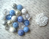 Chunky Necklace Kit, Periwinkle Blue and White Gumball Bead Kit, Bubblegum Necklace Kit, DIY Necklaces, Fun Kids Project
