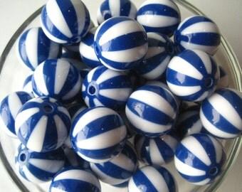 Blue Striped Bead, 20mm Beach Ball Bead, 10 pcs Striped Gumball Bead, Chunky Watermelon Bead, Bubblegum Bead, Necklace Bead