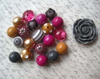 Necklace Kit, Dark Pink, Gray, Mustard Yellow, Chunky Gumball Bead Kit, Bubblegum Necklace Kit, Hardware Included, DIY Necklace