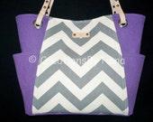Gray Chevron - Purple - Bag - Purse - Handmade - Handbag - Shoulder Bag - teal - leather handles