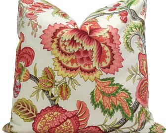Red, Yellow and Green Floral Pillow Cover in Summerlin Geranium  -  Decorative Pillow - Throw Pillow - Accent Pillow
