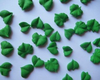 Green royal icing leaves in assorted styles -- Ready to ship -- Cake decorations edible (48 pieces)