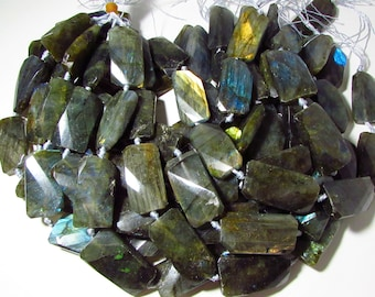 SALE Green Labradorite Faceted Twisted Rectangle Beads 36mm x 20mm - 41mm x 21mm