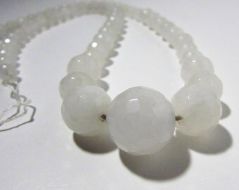 White Chalcedony Jade Faceted Round Graduating Beads 6mm to 14mm