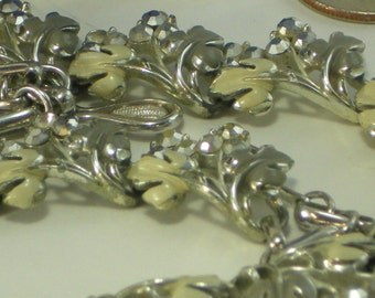 Gray/Grey Silver and Cream Vintage Cluster Necklace