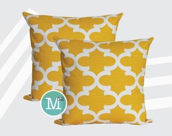 Yellow Moroccan Quatrefoil Lattice Pillow Covers Shams - 18 x 18, 20 x 20 and More Sizes - Zipper Closure- dc1820