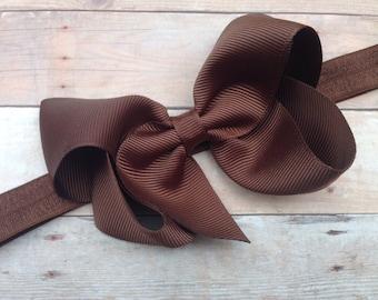 Brown bow headband - brown baby headband, baby headband, newborn headband, baby bow headband, brown headband, thanksgiving headband
