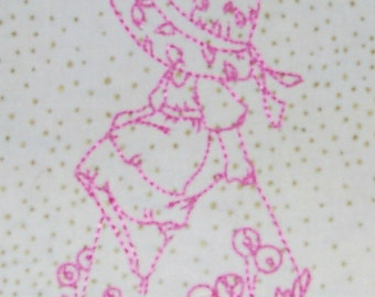 Embroidered Spring time Bonnet Girls Quilt Blocks