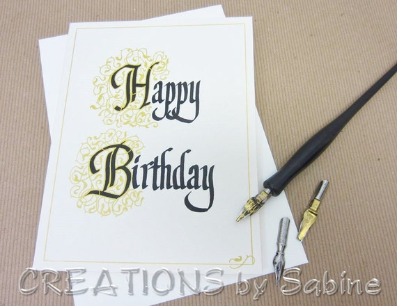 Happy birthday card handwritten calligraphy greeting original