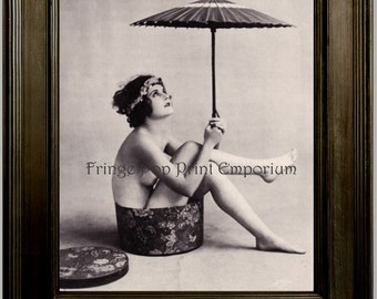Flapper Umbrella Art Print 8 x 10 - Art Deco - Jazz Age - 1920's - Glamorous - Pin Up - Risque in Hat Box