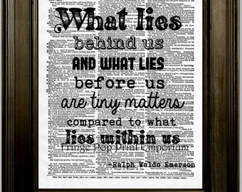 Ralph Waldo Emerson Quote Art Print 8 x 10 Dictionary Page - What lies within us - Transcendentalist - Author