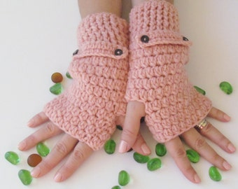 Salmon Fingerless Gloves With Buttons,Crochet Pattern, Hand Arm Warmers,Winter Accessories, Fall Fashion,Mittens