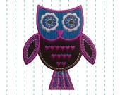 Boho Owl Iron on Applique Brown Felt Patch