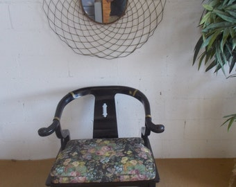 Vintage  Lacquered James Mont style Asian arm chair