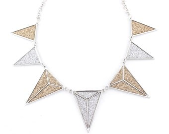 Gorgeous Silver-tone Champagne and Silver Triangle/Pyramid Funky Statement Necklace