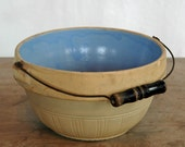 Antique Roseville Pottery Stoneware Bowl with Bail Handle and Blue Glaze