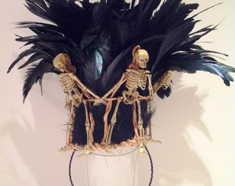 Skeleton Crown -Mardi Gras- Day of the Dead- Burning man- Skull and Bones- Warrior- Skeleton Headband -Black feather Headpiece- Tribal