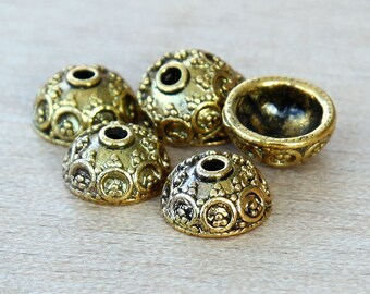 20 pcs Bead Caps, Antique Gold, 10mm Bali Design - eBCR030-AG