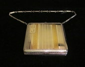 1920s Finberg Dance Compact Double Compact Powder Rouge and Mirror Compact Art Deco w/ Bar Chain Wristlet Excellent Condition