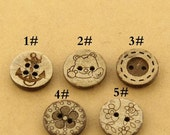 6 pcs 0.49~0.71 inch Brown manual Natural Coconut Shell Buttons for Kids Shirts