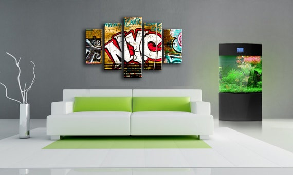 5 Panels,New York City Graffiti ,old wall, Canvas oil printing.