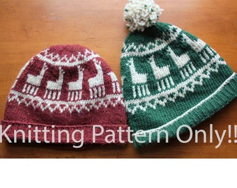 Llama Hat Knitting Pattern Instant Download PDF Hand Knit Hat