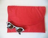 NOS red silk clutch/ handbag/ 70s/ burlington