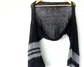 Black Summer Shrug Loose Knit Mohair Cropped Shrug in Black and Gray