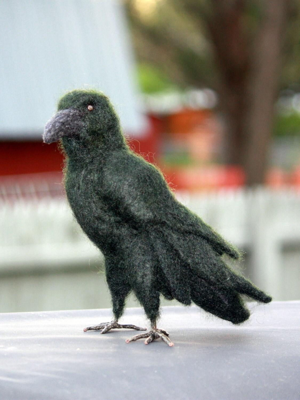 Needle Felted Crow Felted Bird Needle Felted Black Crow