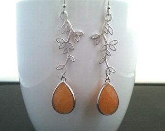 Leaf Silver Drop Earrings, Dangle earrings, Gemstone, wedding Earrings
