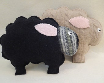 Felted Sheep Animal Pillows - Set of Two