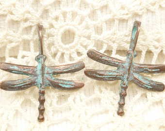 Rustic Verdigris Patina Dragonfly Casting Pendant , Mykonos Casting Beads (2) - M1