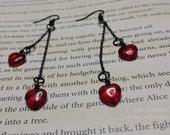 Queen of Hearts- Vintage Czech glass heart earrings
