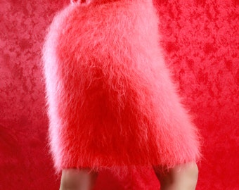 Made to order fuzzy hand knitted mohair mini skirt by SuperTanya