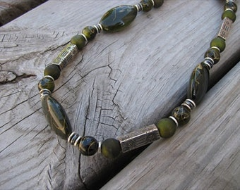 JEWELRY SALE- Bold, Statement Necklace- Chunky Beaded Necklace- Sage Green- only 1 available