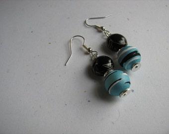 JEWELRY SALE- Blue and Black Beaded Earrings