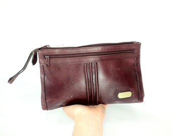 Large Oxblood Leather Wallet - Burgundy Leather Clutch - 80s Large Leather Wallet