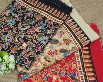 Colorful Flower Cotton Linen Fabric BOHO Vintage Bohemian Style Border Fabric-  1/2 Yard
