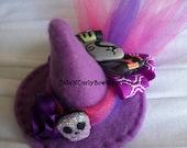 Purple Mini Witch Hat Fascinator Girls Halloween