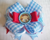 Dorothy Girls Hair bow Blue White Red Wizard of Oz Costume