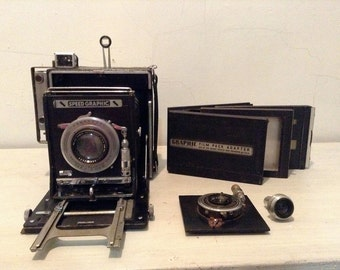 SOLD-My Grandfather's Speed Graphic  w Kodak 4.5 Lens Syncronized Range Finder Camera Collection.