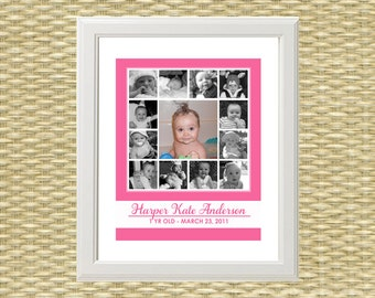 Custom Photo Collage - Baby's First Year - ANY COLOR - Match your Nursery! -