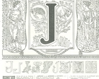 1922 Vintage Letter J wall art vintage Calligraphy ABC French alphabet dictionary page scrapbook paper March April