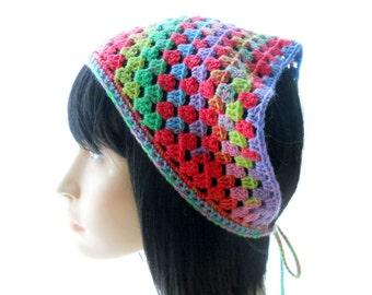 PDF Hannah Bandanna Crochet Kerchief Pattern, Instant Download
