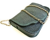 Green leather purse, leather shoulder bag, fully lined purse.