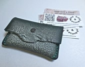 Green leather credit card case, credit card holder