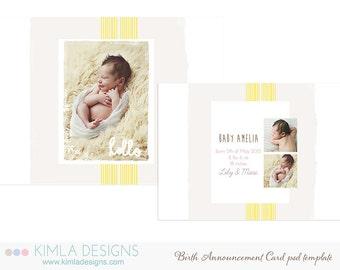 7x5in Birth Announcement Flat Card PSD Template Summer 2014 vol3
