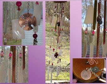 Wood Windchime Glass Windchimes Pink Windchime Garden Decor Stained Glass Windchime Garden Suncatchers Mobiles