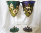 Floral Rhapsody in Turquoise and Purple Hand Painted Crystal Wine Glasses OOAK Turqoise or Purple Wedding Personalised Wedding Gift Glassart