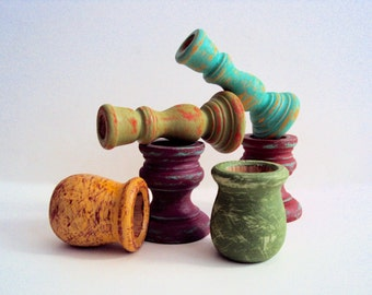 Set of Six Hand-Distressed Boho Candle Holders - Small Candle Cups - Gypsy Boho Decor - Little Candle Sticks - Colorful Bohemian Decoration
